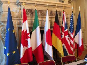 Les drapeaux des sept pays du G7