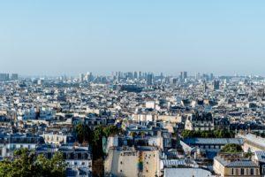 Le quartier de Sacré-Coeur à Paris (France).